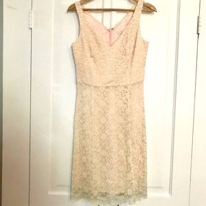 Shoshanna White Lace w Gold over Light Pink Dress